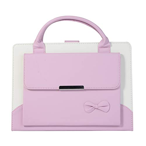 Price comparison product image Earcase iPad Mini 1 2 3 4Cover,  Luxury Business Briefcase Style Handbag PU Leather Protective Cover Portable Fold Out Viewing Stand Handle Pocket Carrying Case for iPad Mini 1 / 2 / 3 / 4-Pink