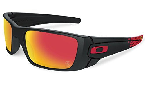 Oakley Men's Fuel Cell Scuderia Ferrari Sunglasses,Matte Black/Ruby Iridium,60 - Sunglasses Oakly