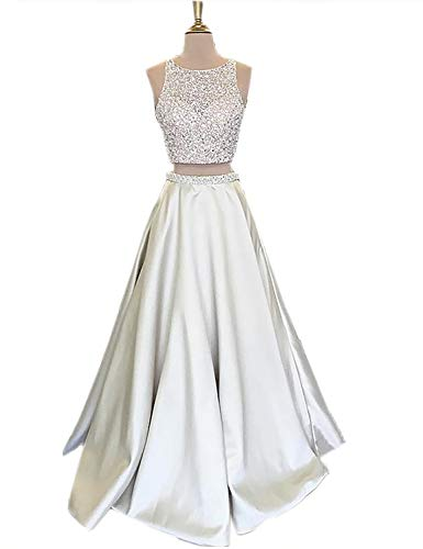 Sexy Homecoming Dresses Plus Size Long 2018 Prom Gowns Empire Waist Beaded Unique Back Two Piece Cocktail Dress for Evening Party Formal Ball Gown VK99 Ivory 4 ()