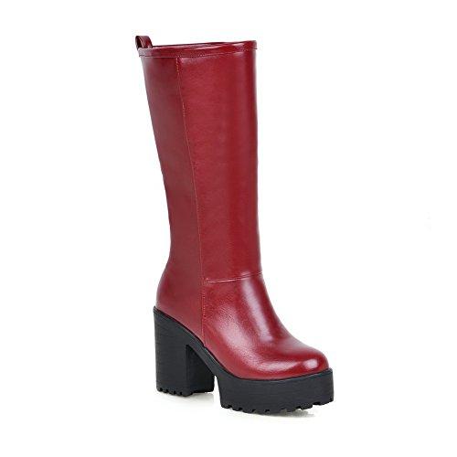 Allhqfashion Dames Pu Blend Materialen Hoge Hakken Laarzen Met Waterdicht Rood