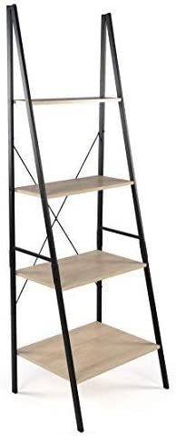 Tot Tutors Bookcase 4-Tier 71 Tall Wood Ladder Shelf, Sandwashed Grey