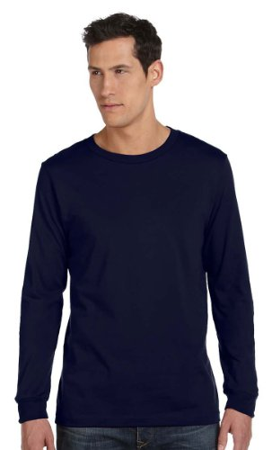 Canvas 3501 Mens Jersey Long-Sleeve T-Shirt, Navy, Extra Large - Banana Fitted Jersey T-shirt