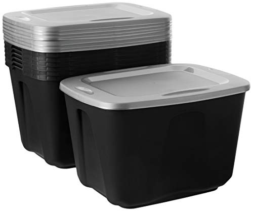 Homz Plastic Storage Tote Box, With Lid, 18 Gallon, Black and Silver, Stackable, 8-Pack (Homz 18 Gallon Storage Tote Set Of 8)