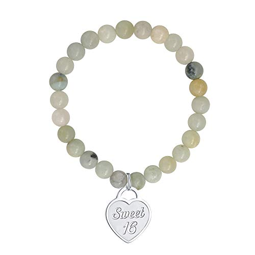 Gifts for 16 Year Old Girl Bracelet - 6mm Natural Amazonite Bead Bracelet Anxiety Bracelet 16 Year Old Girl Gifts Bracelet Girls Jewelry Heart Charm Bracelet Best 16 Year Old Girls Boys Teens Gifts (Best Gift For 16 Year Girl)