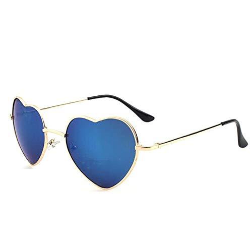 Meyison Heart Shaped Sunglasses Thin Metal Frame Cute Aviator Style Eyewear(gold frame+mirror blue lens)