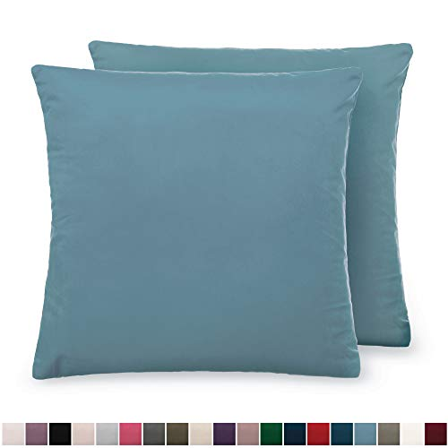 The Connecticut Home Company Luxurious Velvet Throw Pillow Cases, Set of 2 Decorative Case Sets, Square Pillow Covers, Soft Pillowcases for Living Room, Bedroom, Couch, Sofa, Bed, 18x18, Grayish Blue (Pillows Two Set Of Decorative)