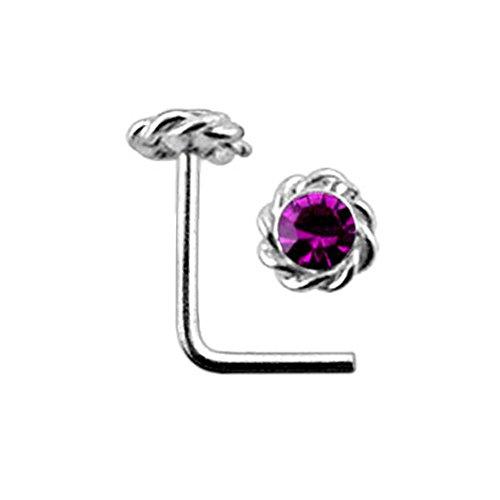 Purple Jeweled Twister Flower Top 22 Gauge Silver L Shape - L Bend Nose Stud Nose Pin
