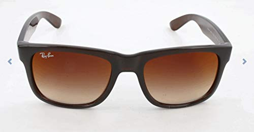 Ray-Ban RB4165 Justin Rectangular Sunglasses, Brown/Brown Gradient Mirror, 54 mm