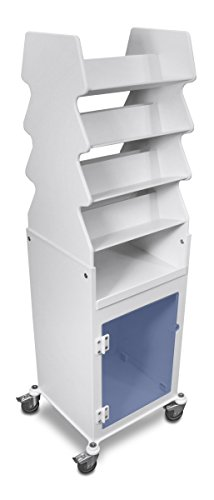 TrippNT 53109 PVC Plastic Tall Slanted Suture Cart with Blue Acrylic Door Bulk Storage Area and 3