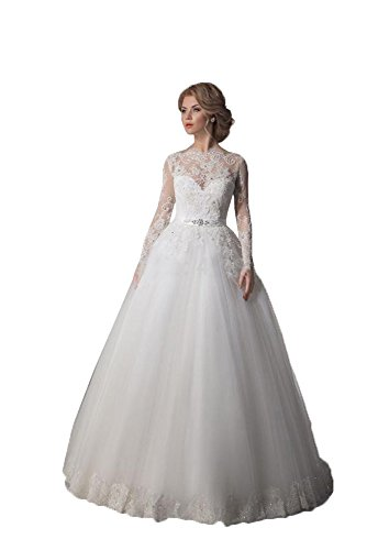 The Long Off Women's Sleeve Dress Ivory Full Shoulder DZdress Wedding Tulle S6RPg