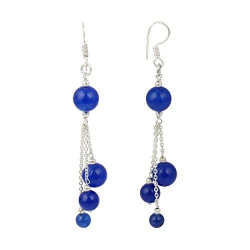 Pearlz Ocean Blue Jade Gemstone Beads Trendy Dangling Fashion Earrings Jewelry for Women