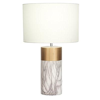 "Urban Designs 7793706 Decorative White & Gold Column 24"" Ceramic Table Lamp,White Gold"