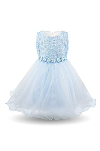 AODAYA Baby Girls Dress Sleeveless Newborn Toddler Flower Girl Dresses for Birthday Christening Baptism Wedding Party Easter Sky Blue