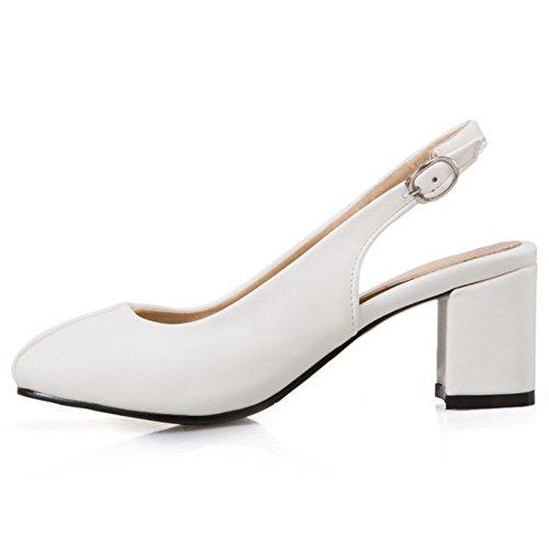 Closed Women KemeKiss Work Block Heel White Shoes Dress Sandals Slingback Toe Fashion 4nCqTwH
