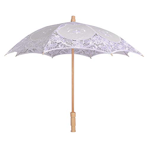Longay Lace Embroidered Sun Parasol Umbrella Bridal Wedding Dancing Party Photo Show (White) by Longay (Image #6)