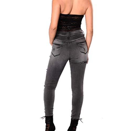 Pantalon Mode Skinny 4xl Les Déchiré Denim Casual Pour Haute Pant De Streetwear Jeans Taille Fit Dame Schwarz Stretch Dames Décontracté S Slim Détruit Boyfriend La Zz6qwq