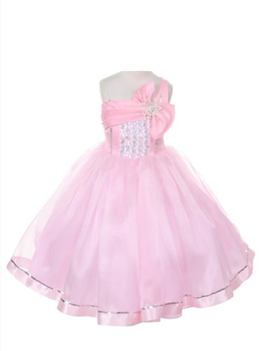 DressForLess Satin and Organza Asymmetrical Girls Pageant Dresses, Pink, 8, (KK2061PK-8) (Asymmetrical Satin)