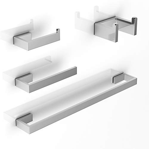 LuckIn Brushed Nickel Bathroom Accessories Set, Modern Style Towel Bar Set, 4-PCS Bath Hardware Set for Bathroom Remodel ()