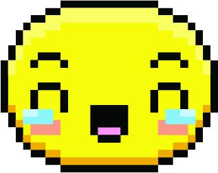 Cute Sweet Kawaii Pixelated Yellow Emoticon Emoji Cartoon Face Vinyl Sticker, Laughing to Tears]()