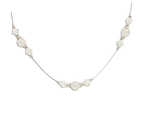Sterling Silver LDS Baptism Necklace for Girls in White with Crystals (13'') by Cherished Moments