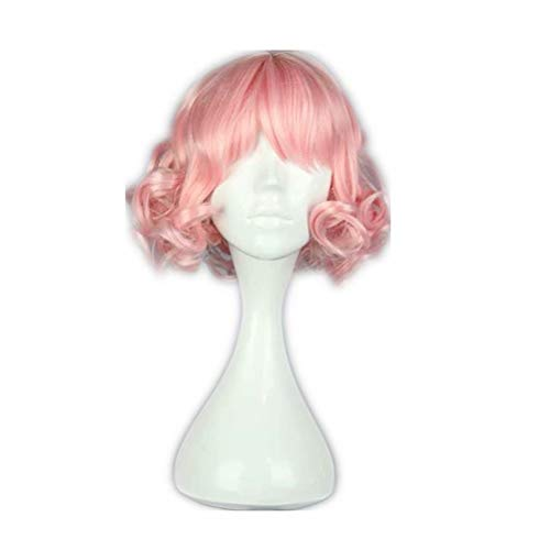 COSPLAZA Lovely Pink Harajuku Lolita Coils Curls Short Hair Children Girls Halloween Anime Show Role Play Full Cosplay Wig -