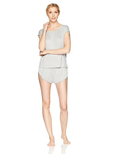 Cap Bride Sleeve Womens T-shirts - Amazon Brand - Mae Women's Sleepwear Curved Trim T Shirt and Short Pajama Set, Light Heather Grey, Small