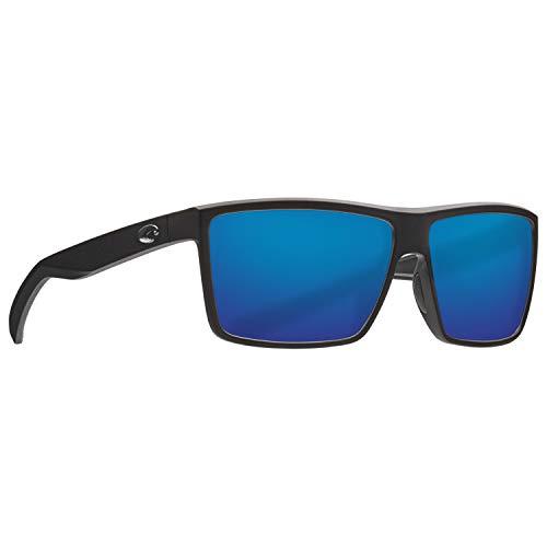 Costa Rinconcito Matte Black Plastic Frame Grey Silver Mirror Lens Unisex Sunglasses - Black Grey Polarized Silver Mirror