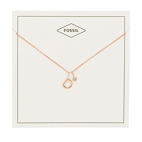 Pendant Fossil Rose (Fossil Women's Letter D Rose Gold-Tone Stainless Steel Necklace, One Size)