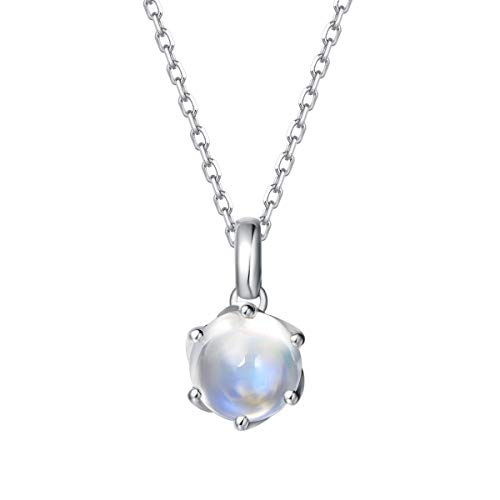 - Agvana 14K Solid White Gold 0.608Ct Genuine Natural Moonstone Solitaire Pendant Necklace June Birthstone Gemstone Fine Jewelry Gifts for Women Girls, 16