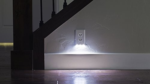 2 Pack SnapPower Guidelight - Outlet Wall Plate With LED Night Lights - No Batteries Or Wires - Installs In Seconds - (Décor, White)