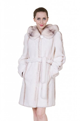 Clearance! Adelaqueen Women's Mink Cashmere White Faux Fur Coat Size M