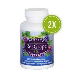 Perfect ResGrape - 99% Trans-Resveratrol & Organic Muscadine Grape - Anti-Aging Supplement & Potent Antioxidant - 60 Veg Capsules (2-Pack)