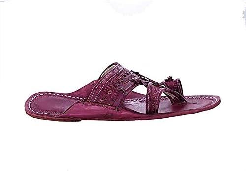 KOLHAPURI CHAPPAL Original Old-Fashioned Beautiful Purple for Men Slipper Sandal