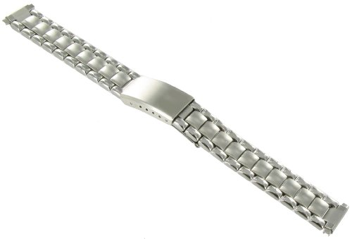 12-16mm Speidel Silver Tone Adjustable Semi-Solid Link Deployment Buckle Watch Band 1829/00 by Speidel