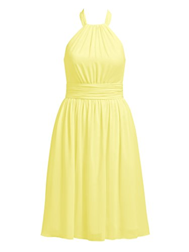 Chiffon Knee Bridesmaid Dress Short Yellow Cocktail Party Length Evening Halter Dresses Alicepub dxqWwd
