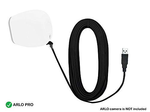 Charging Cable for Arlo Pro (16.5 ft. Black) - Outdoor Cable for Netgear Arlo Pro - Waterproof Weatherproof Quick Charging Cord - USB Charging Cables - 90 Degree Power USB Cable by Sully