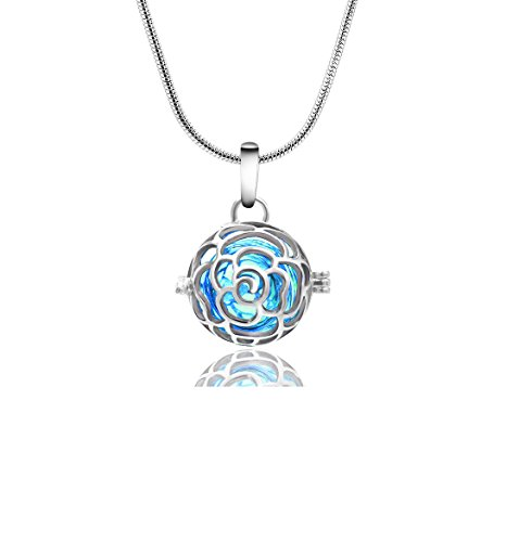 Rose Pattern Aroma Essential Oil Diffuser Necklace Locket Pendant Gift Set, 1.1 inch Rose Locket Pendant Blue Perfume Bottle Necklace With 24