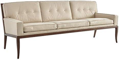 Amazon.com: Global Views Gorgeous Wood Beige Leather Sofa ...