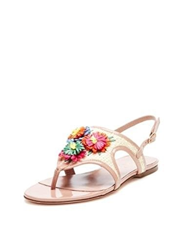 RED Valentino Flat Straw Flowers Sandals 37 US 7