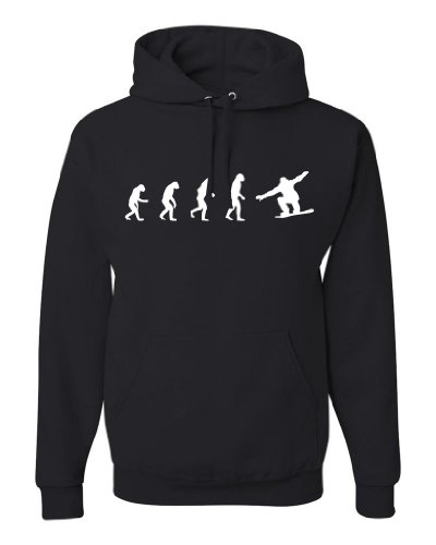 ShirtLoco Men's Evolution Of Man To Snowboarder Hoodie Sweatshirt, Black Medium