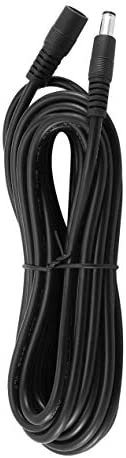 純銅0.75角型12V電源延長コードDc5.5x2.1オス対メスモニタリング10Aブラック-ブラック-5M
