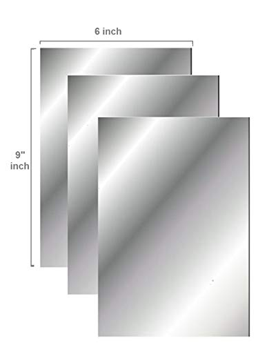 "Q-Bics Flexible Mirror Sheets 6"" X 9"" Soft Non Glass Cut to Size Craft Plastic 3 Sheets ""PEEL OFF PROTECTIVE COVER SHEET"" Peel Back Sticker And Stick No Glue"
