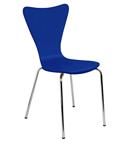 Blue Armless Made From Sturdy Bent Plywood With Reinforced Chrome Plated Tubular Steel Legs Bent Ply Chair In Cobalt Blue Finish, Dimensions 34Hx20Wx19D (Chrome Tubular Plated)