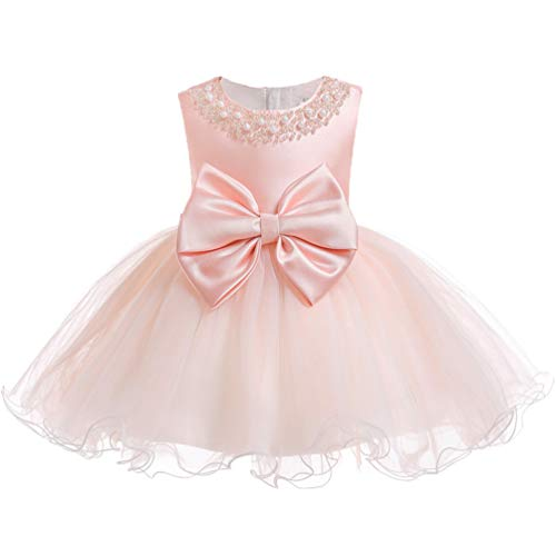 XIPAI Infant Baby Girl Formal Bridesmaid Birthday Ball Gown Sleeveless Ruffles Dress Pink 24M ()