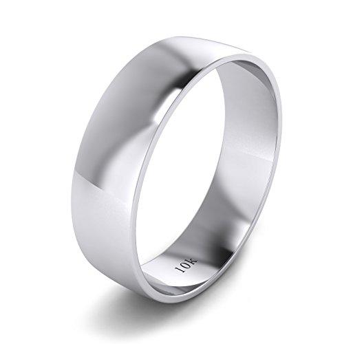 Unisex 10k White Gold 6mm Light Court Shape Comfort Fit Polished Wedding Ring Plain Band (12) by LANDA JEWEL