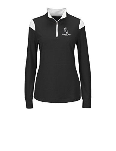 MLB Chicago White Sox Women's L5R Fashion Tops, Black/White, Small Sox Long Sleeve Polo