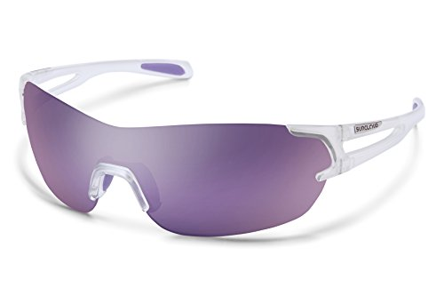 Suncloud Airway Sunglasses, Crystal White Frame/Purple Mirror Polycarbonate Lens, One ()