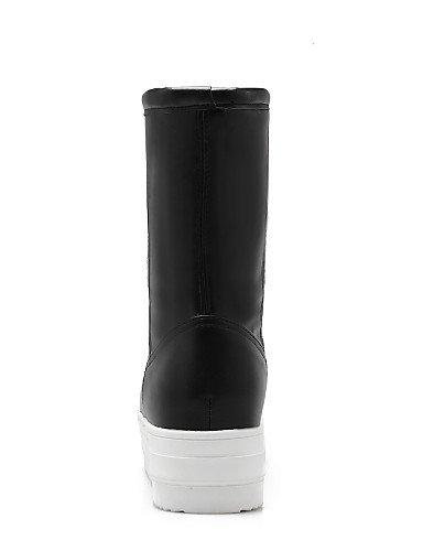 Semicuero White Punta Cn40 5 Moda Negro Plataforma us8 Eu42 La Uk6 U 5 Blanco Mujer De Zapatos Xzz Cn43 Botas Eu39 White A us10 5 Casual Vestido Redonda Uk8 5 TIqg77