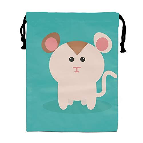 Cute Cartoon Hamster Gym Sack Bag Sport Drawstring Tote School Travel - Bottle Hook Water Hamster