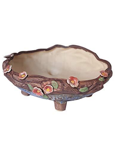 Dahlia 8'' Vintage Style Floral Detail Ceramic Succulent Planter/Plant Pot/Flower Pot, Shallow ()